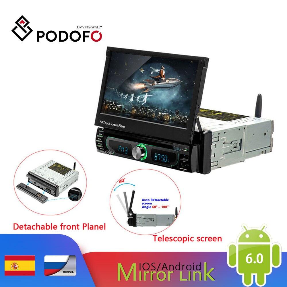 Podofo 1din Android 7 ''lecteur DVD de voiture universel GPS Navigation voiture stéréo Bluetooth Radio lecteur Audio FM voiture lecteur multimédia