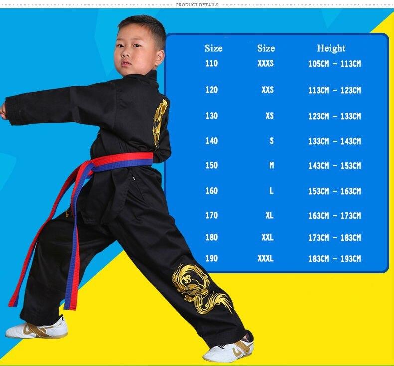 2019 Bestickter Drache Schwarz Polyester Baumwolle Taekwondo Kleidung - Sportbekleidung und Accessoires - Foto 4