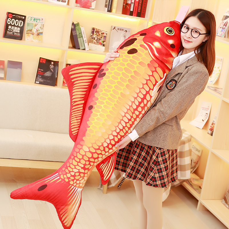 lovely plush red Carp fish toy stuffed big carp design pillow doll gift about 140cm 2856