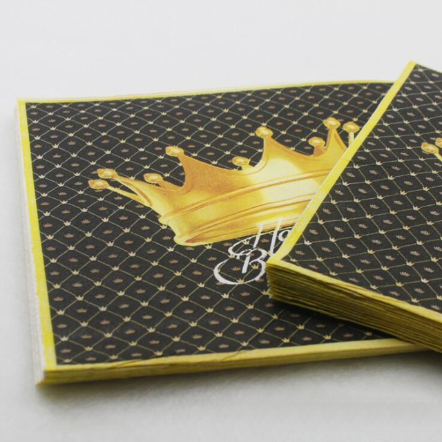 New High Grade Black Gold Crown Paper Napkin For Kids Birthday Party Table Dinner