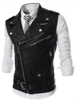 Autumn Zipper Male Slim Lapel Short Design PU Leather Waistcoat Men Clothing Motorcycle Vest Coat Punk Style Undercoat