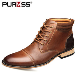 Top Quality Genuine Leather Men Ankle Boots Outdoor Working Shoes High Top Business Casual Shoes Boots Men Plus Size 50