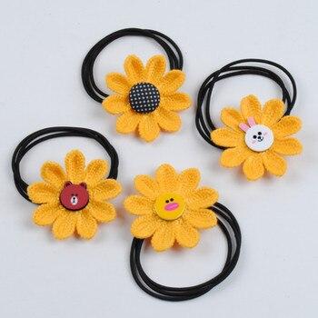 Cute Sunflower Hair Rope Elastic Hair Bands Scrunchies Girls Baby Hair Ties Rubber Band Hair Braiders
