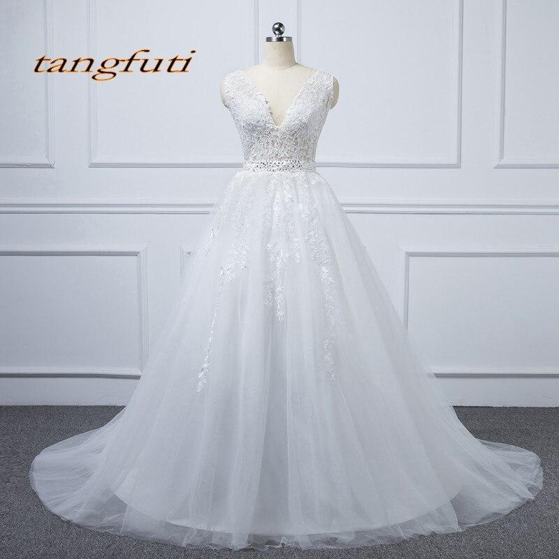 Robes de mariée Vintage en dentelle longue ligne col en V robes de mariée mariage robes de mariée mariage robes de mariage robes de novia 2018