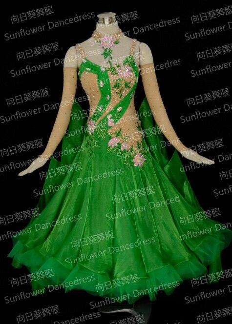 Moodne valss Tango ballisaalide tantsukleit, sujuv ballisaalkleit, standardtantsukleit, roheline