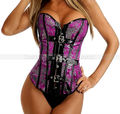 Purple Dragon Pattern Overbust Buckled Corset Top Punk Burlesque Lace Up Boned Bustier S M L XL 2XL - 1pc start Wholesale
