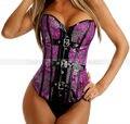 Roxo Dragon padrão Overbust Buckled Corset Top Punk Burlesque Lace Up desossado Bustier sml XL 2XL start