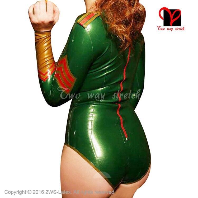 Metallic Green And Trim Sexy military latex body suit front zipper epaulettes Rubber Jumpsuit Unitard BodySuit plus size TC-032