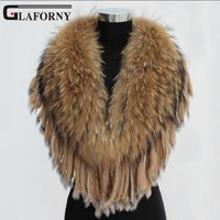 Glaforny натуральный супер большой енот меховой воротник шарф меховая основа шаль енот собака меховой для шеи теплый с кроличьим мехом паланти