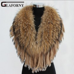 Glaforny Real natural Super Big Raccoon Fur Collar Scarf Fur Warp Shawl Raccoon Dog Fur Neck Warmer with Rabbit Fur Tassel Stole