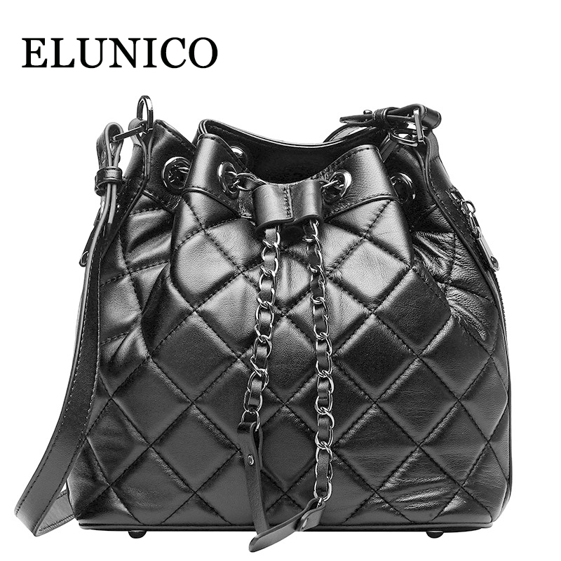 ELUNICO Luxury Handbags Women Bags Designer Plaid Chains Bucket Shoulder Bag Lady Real Genuine Leather Messenger
