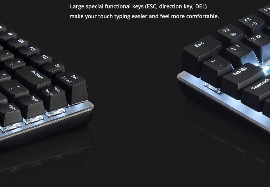 Ajazz AK33 gaming keyboard 82 keys RussianEnglish RGB backlight ergonomic wiredwireless mechanical keyboard conflict-free  (6)
