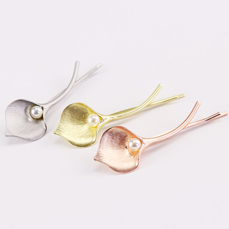 1PC New Elegance Barrettes Women Alloy Pearl Hair Clips Silver Gold Flowers Hairpins Lady Hairgrips Hair Accessories For Girls new 2pcs lot 1 pair girls women lovely cute golden alloy hair barrettes hairpins hair accessories