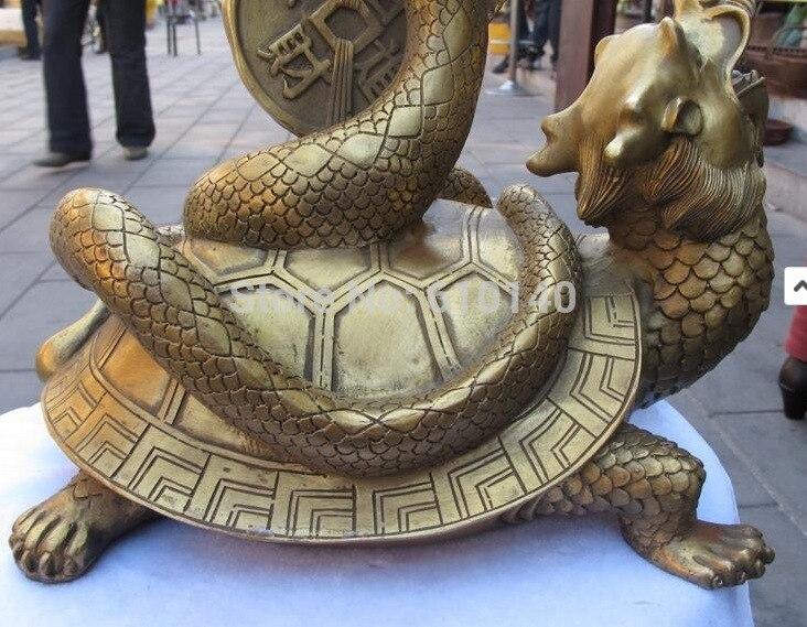 K @ 14 @ AA @ Chinois En Laiton Sculpté Dragon tortue Jouer Argent serpent Chanceux Noir Guerrier statue - 4