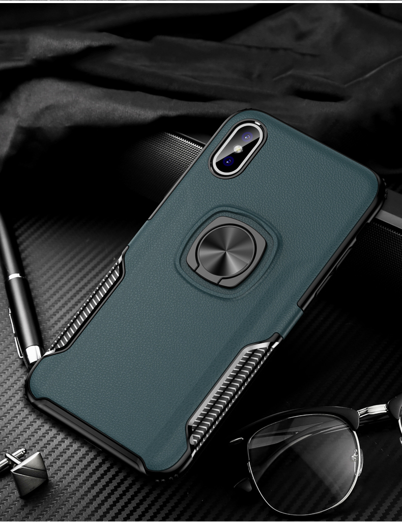 Luxury Leather texture Bracket case For iPhone x xs max xr Shockproof armor cover For iphone 6 6s 7 8 plus case with ring holder (13)