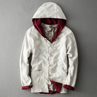 YuWaiJiaRen Chinese Style Men S Autumn Spring Fashion Hooded Linen Jacket Men Retro Solid Color Casual