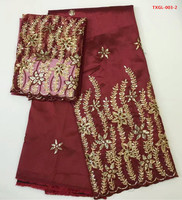 African Embroidery George Lace Fabric Silk In Maroon 5yards Match 2yards George Tulle For Sewing Nigerian