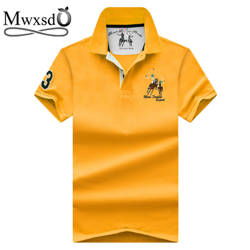Mwxsd famous brand Summer casual Mens cotton   Polo   Shirt Men Horse Embroidery slim fit   polo   breath male soft cool   polo   shirt