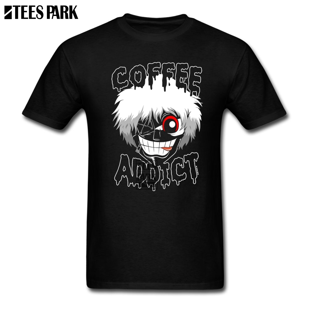 Printing T Shirt Tokyo Ghoul Coffee Addict Short T Shirt Adult Slim Fit Short Sleeve Tee Shirts Discount Youth Design T Shirt
