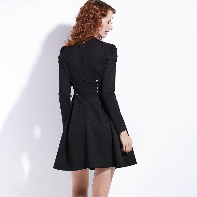 Women Black Winter Dress Autumn Long Sleeve A-Line Pleated Mini Dress Gothic Style Goth Patchwork Bandage Lace Up Vintage Dress 5