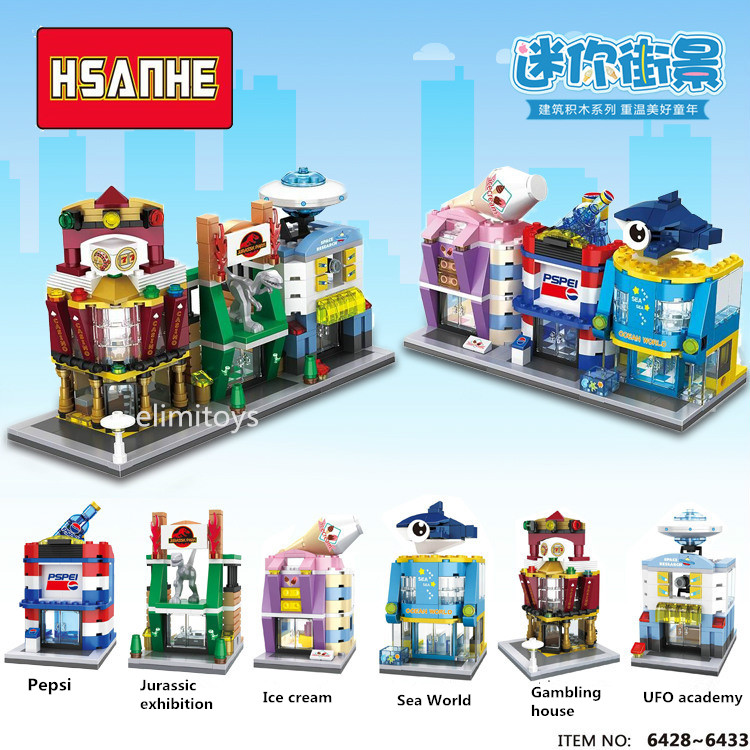 HSANHE New Street Store Plastic Building Blocks Mini Shop Architecture Dinosaur Museum Educational Brinquedos for Kids Xmas Gift loz diamond blocks world famous architecture tower bridge building blocks kids educational toys mini blocks brinquedos