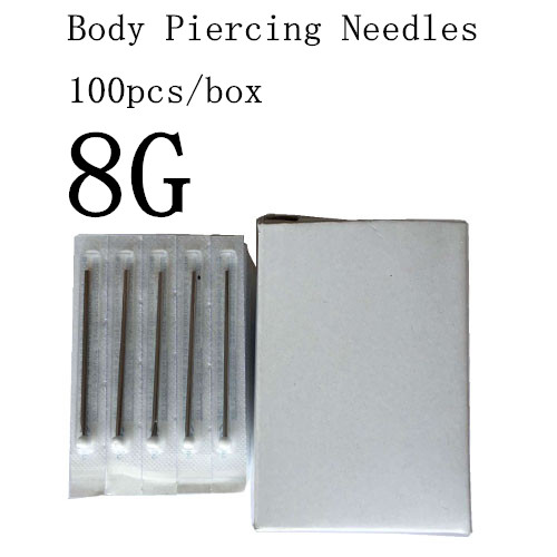 YILONG 100PC 8G Piercing Needles 8G Sterile Disposable Body Piercing Needles 8G For Ear Nose Navel Nipple Free Shipping