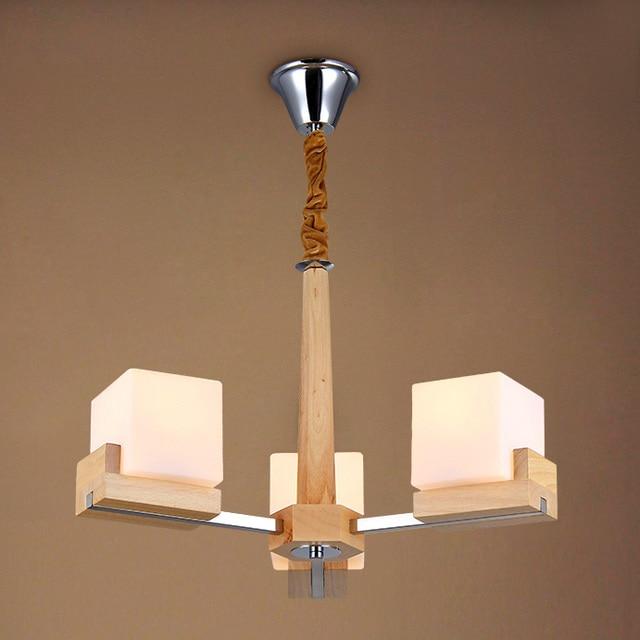 Simple Japan Style Wood Luminaire Study Room Hanging Wood Chandelier