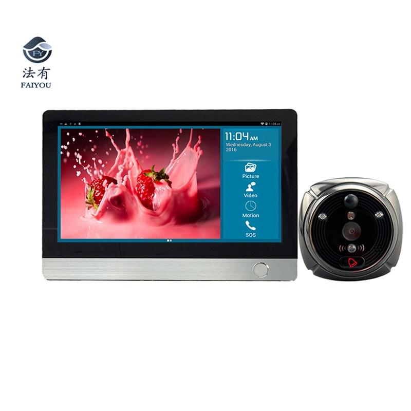 IHome4 Face Recognition IP WI-FI Visor Da Porta de Vídeo Olho Mágico Campainha Tela 7 Polegada Porta HD Câmera de Detecção De Movimento IR PIR campainha da porta