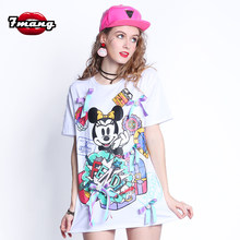 7Mang 2019 Women Streetwear Cartoon Mickey Sequins TShirt Short Sleeve White Party Loose Kwaii Beading Long T Shirt 0309(China)