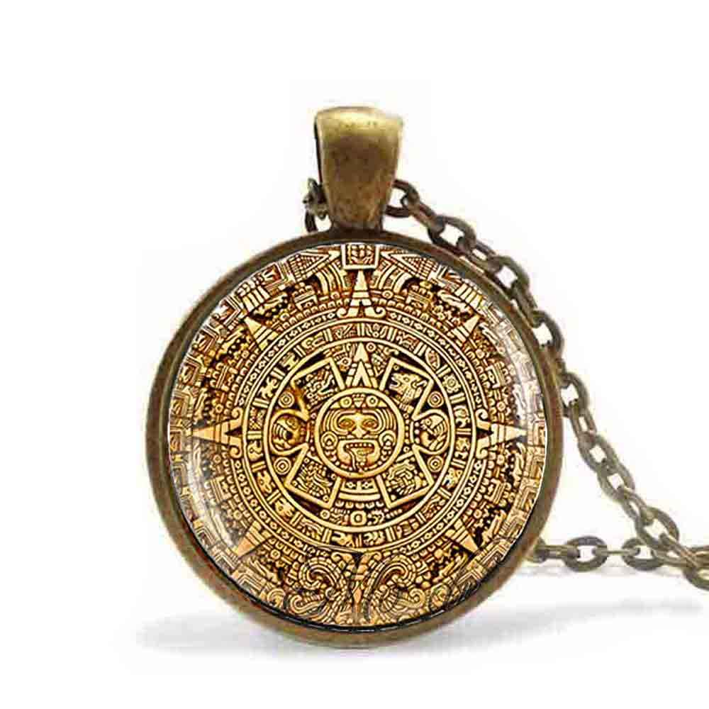 Mayan Calendar Pendant Jewelry Aztec Necklace Antique Bronze Chain Astronomy Archaeology