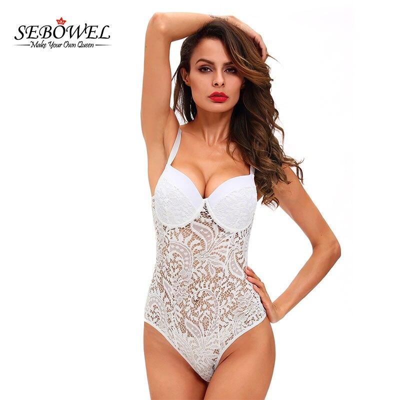 4d2f68fcdf SEBOWEL Black/White Lace Bodysuit Women Summer Sexy See Through Skinny Body  Jumpsuit Femme Romper