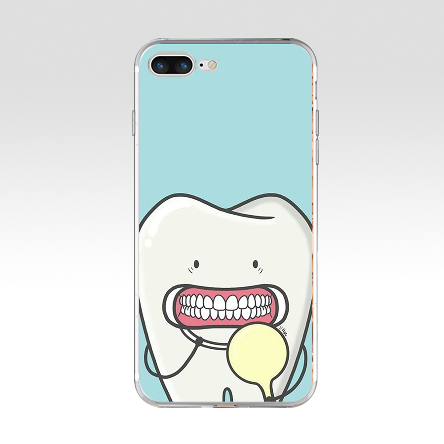 66SD Funny Cartoon Dentist Dental Crowned Teeth Soft TPU Silicone Cover Case For Apple iPhone 6 6s 7 8 plus Case
