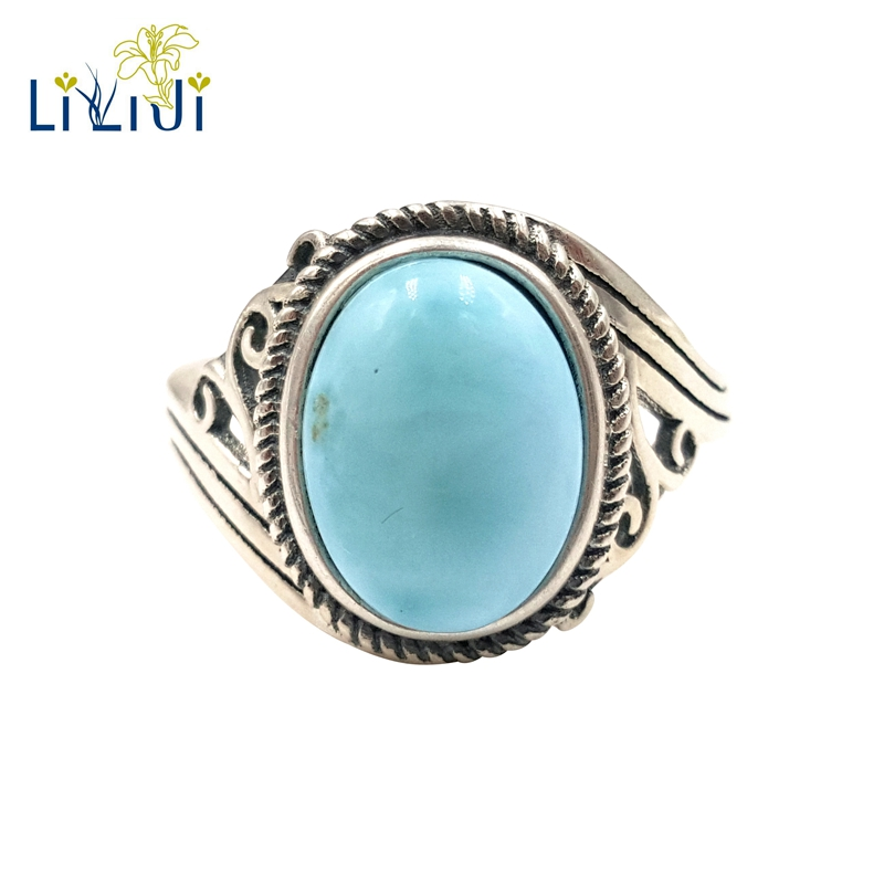 LiiJi Gemstone Natural Caribbean Blue Larimar 925 Sterling Silver Oval Cabochon Shape Vintage Ring Resizable Both Men And Wome