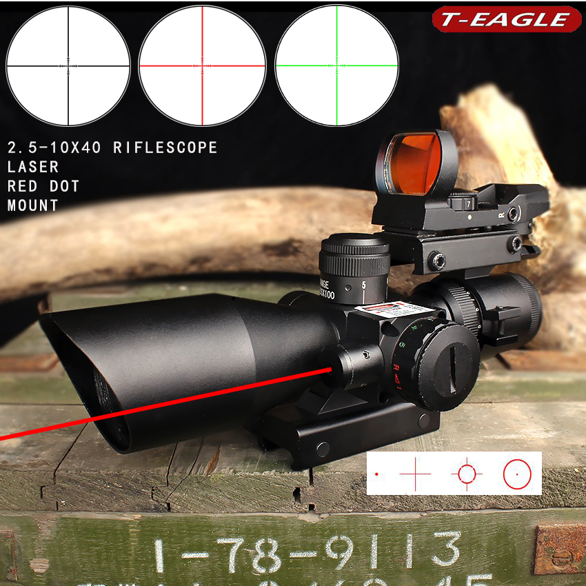 2.5X-10 Tactical airgun Scope Sight scope mount with Holographic 4 Reticle Red / Green Laser Light Hunting Trail Riflescope 2.5X-10 Tactical airgun Scope Sight scope mount with Holographic 4 Reticle Red / Green Laser Light Hunting Trail Riflescope