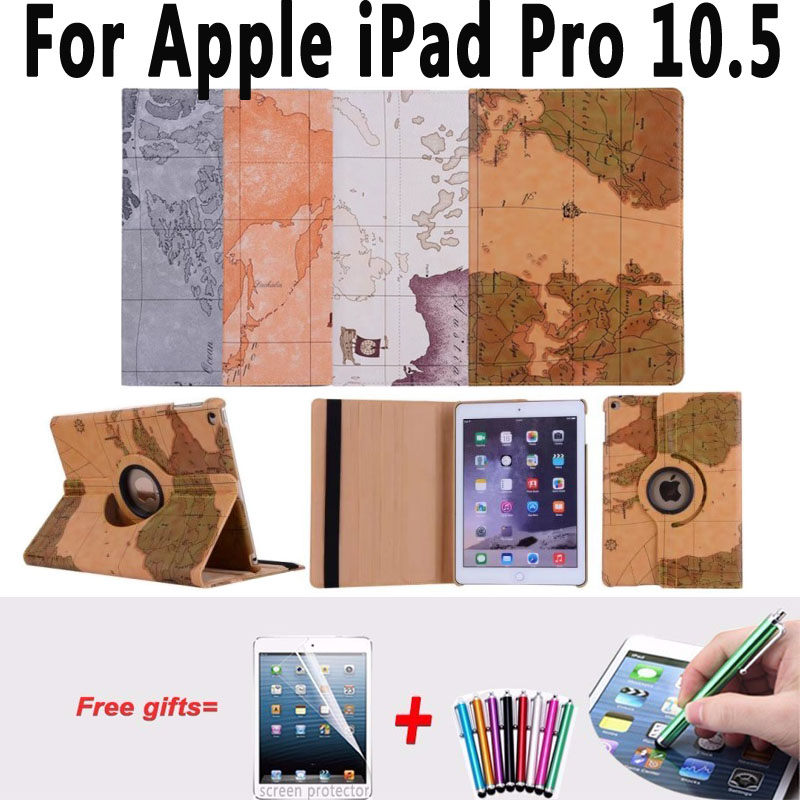 Retro Map Smart Case for iPad Pro 10.5 PU Leather 360 Rotating Stand Tablet Protector for Apple iPad Pro 10.5 Case Cover A1701 for ipad pro 9 7 retro crocodile stand wallet smart leather cover dark blue