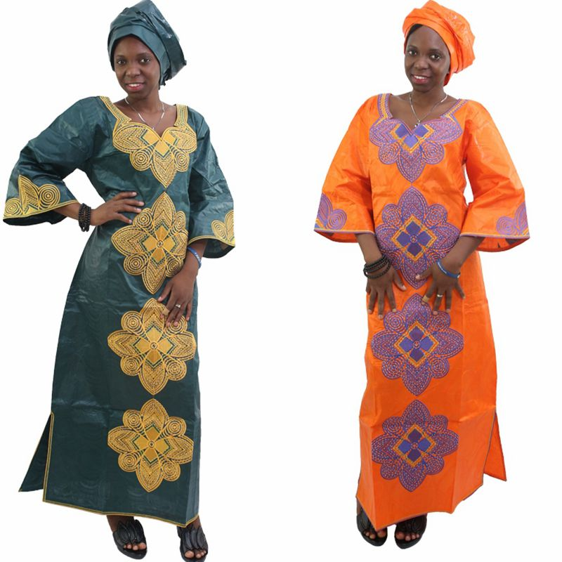 H & D New Fashion African bazin riche dress for women Kapas 100% - Pakaian kebangsaan - Foto 3