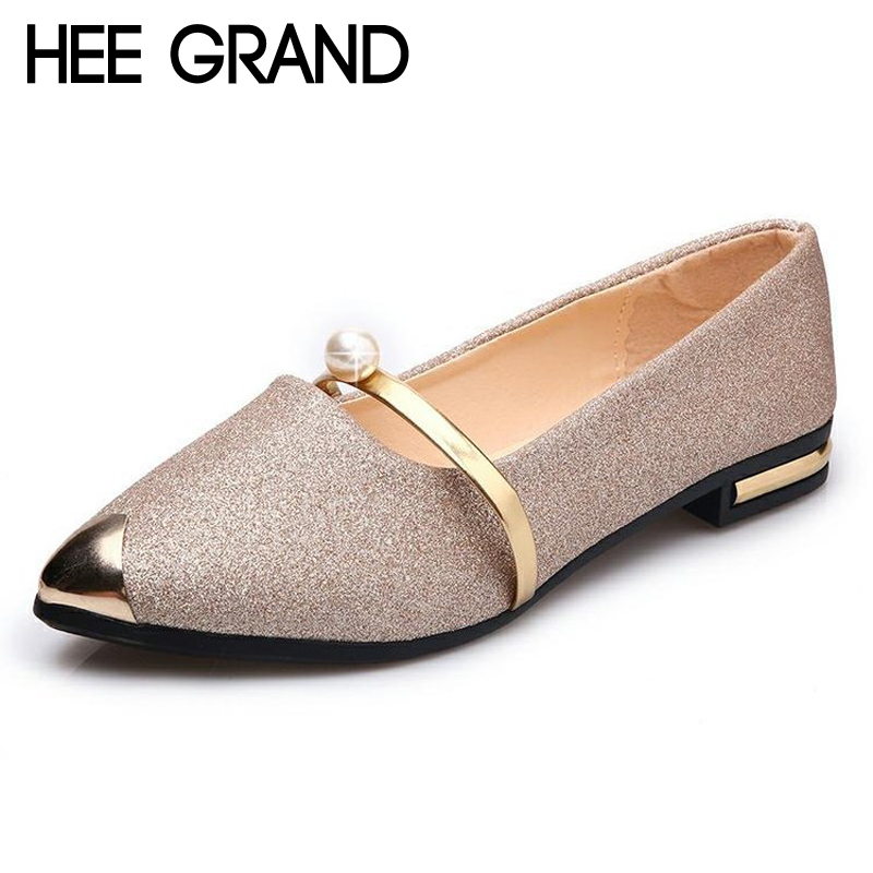 HEE GRAND Gold Silver Color Summer Style Loafers Pu Leather Flats Shoes Woman Slip On Bling Soft Women Shoes Size 35-40 XWD6278 summer slip ons 45 46 9 women shoes for dancing pointed toe flats ballet ladies loafers soft sole low top gold silver black pink
