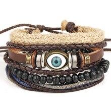 4pcs 1 Set Punk Genuine Wrap Feather Leather Bracelets