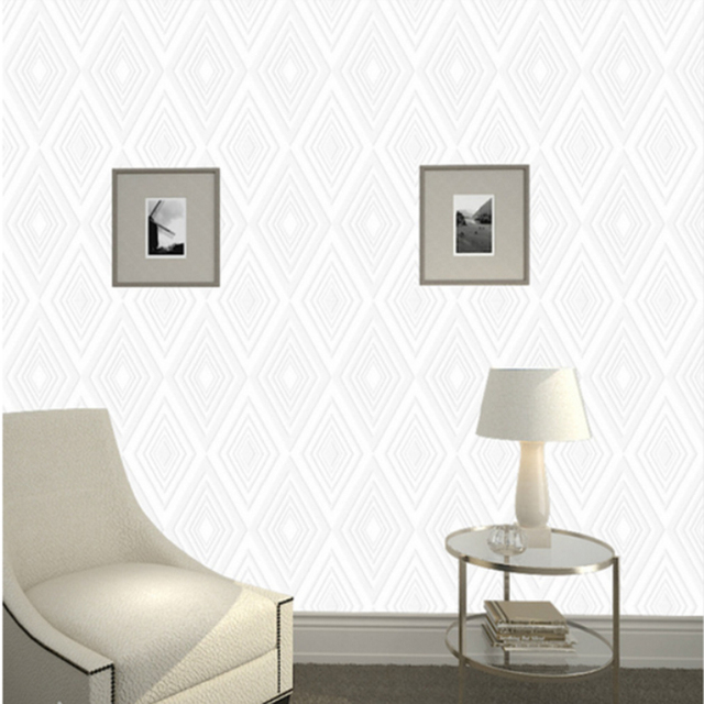 White Diamond Pattern Wall Paper Can Be Brushed Paint Wallpaper DIY 053M10M