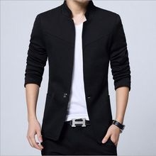 Chinese Collar Mao Suit Jacket Mens Slim Fit Blazer For Men Plus Size Mens Blazers Black Blue Grey Red 3XL 4XL 5XL(China)