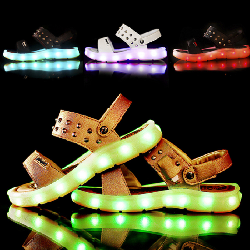 Summer Rivets USB Charging LED Kid Beach Sandals For Boys And Girls Excellent PU Leather Children Shoes Lighting Up Sandal