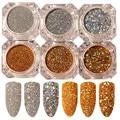 1 Set 6 Boxes Laser Paillette Glitter Powder 1.8g Holo Gold Silver Manicure Nail Art Sequins Gold & Sliver