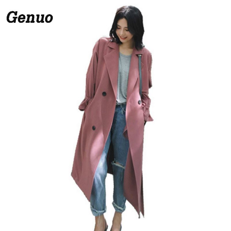 Genuo women's spring autumn   trench   coat plus long suit collar casual oversize plus size adjustable waist overcoat for women