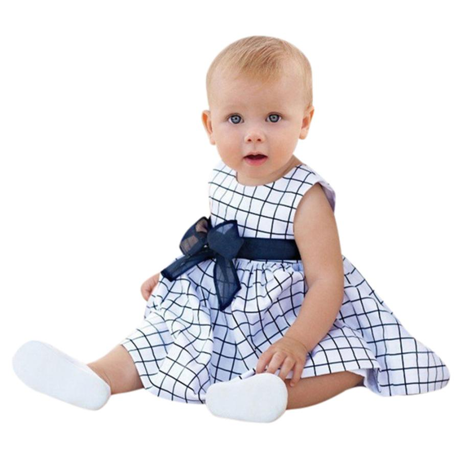 Mooistar2 #4005 Children Baby Girls Plaid Pockets Sundress Big Bow Sleeveless Dress