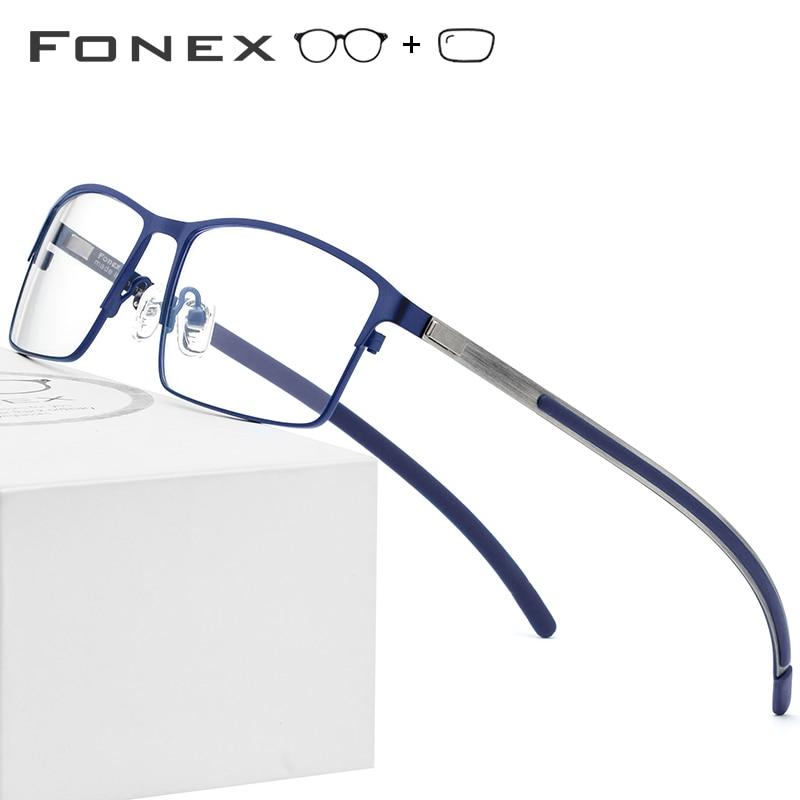 Gafas graduadas de aleación de titanio para hombre ultraligero cuadrado miopía prescripción gafas 2019 Metal óptico sin tornillos gafas