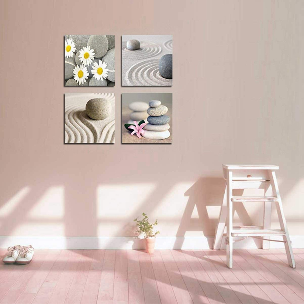 Nordic Poster Beach Stone Sand Daisy Flower Beauty Canvas Print Picture For  Bathroom Kitchen Wall Decor Zen Home Decor Custom In Painting U0026 Calligraphy  From ...