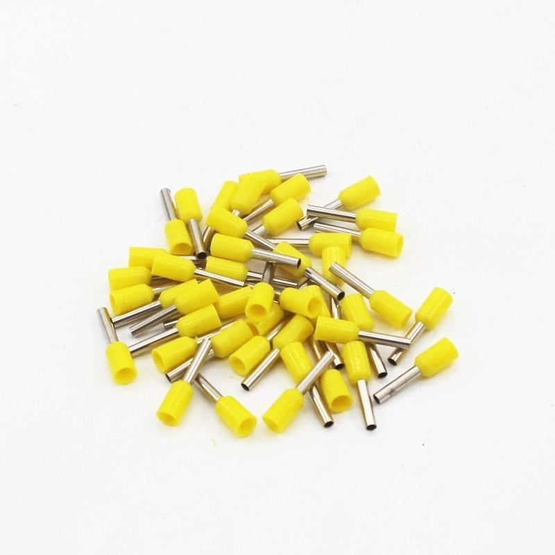 100 шт./упак. E0508 E7508 E1008 E1508 E2508 изолированных кабельных наконечников клеммной колодки конец шнура Разъем провода электрические обжимной Терминатор - Цвет: Цвет: желтый