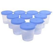 10 шт., пластиковые чашки 40 мл, контейнер для мочи, чашка для образцов, бутылка для образцов, литой Выпускной, ML и Oz PP, стерильная синяя крышка
