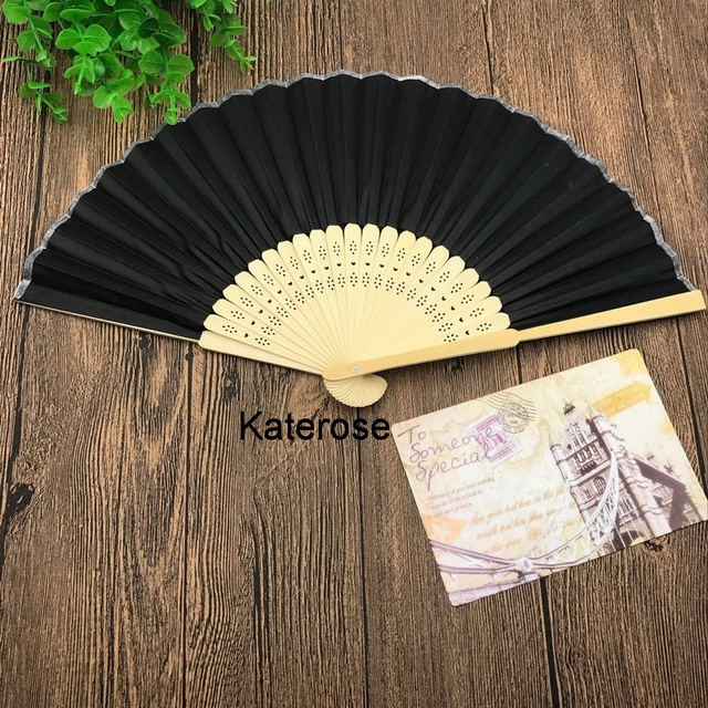 80pcs lot free shipping personalized wedding fans with silk cloth