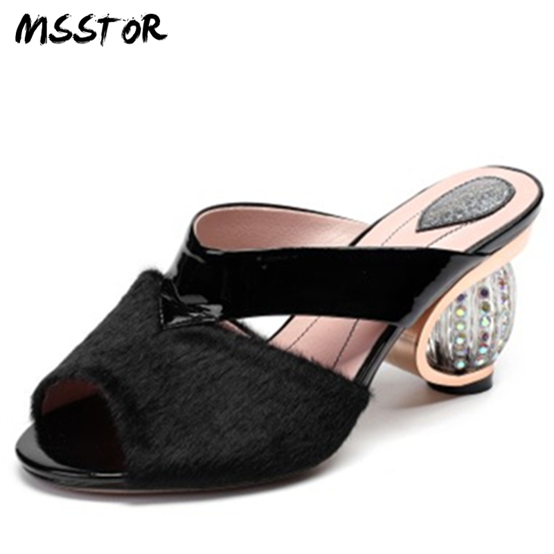 MSSTOR Peep Toe High Heels Plus Size 34-43 Strange Style Horsehair Fashion Red Black Summer Shoes Crystal Heel Slippers Woman new arrival for lexus rx200t rx450h 2016 2pcs stainless steel chrome rear window sill decorative trims